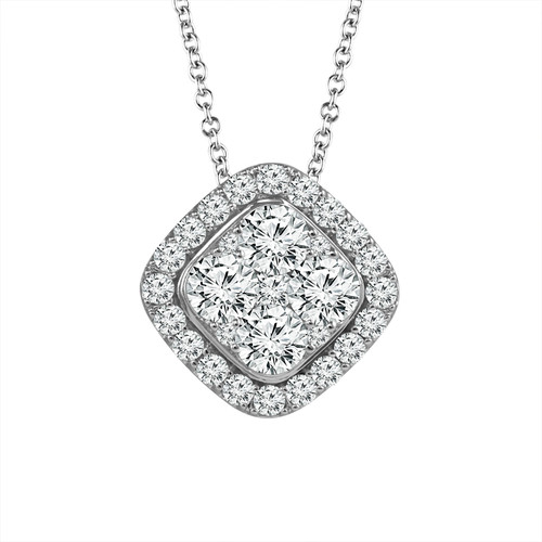 "14K White Gold  1.00ct Women's Cushion Diamond Pendant with Complimentary 18"" White Gold Chain"