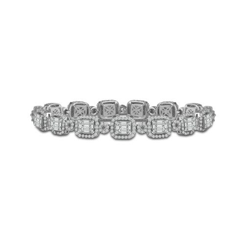 14K White Gold 4.75CT Diamond 5.5MM Tennis Baguette Bracelet  BT-0330A68W4