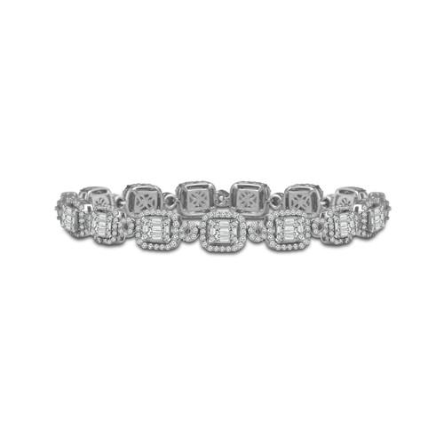 14K White Gold 4.75CT Diamond 5.5MM Tennis Baguette Bracelet  BT-0330A68W4
