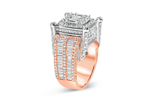 Men's 14K Rose and White Gold 5.05ct Baguette Diamond Ring