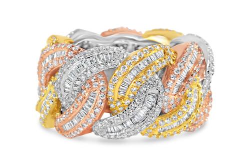 Men's 14K White/Rose/Yellow 5.19ct Baguette Diamond Ring