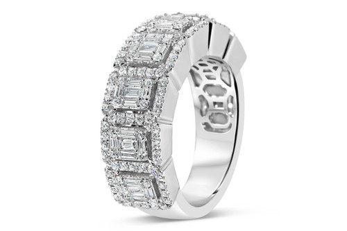 Men's 14K White Gold 1.70ct Baguette Diamond Band