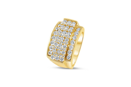 Men's 10K Yellow Gold Prong Set 3.00ct Diamond Ring