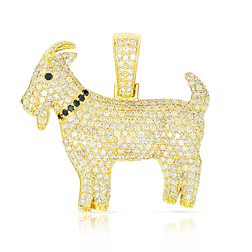 10K Yellow Gold Goat Pendant 1.80ct