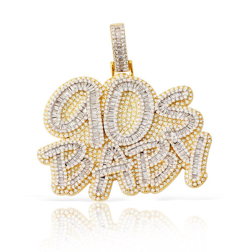 10K Custom 10.95ct 90's Baby Pave/Baguette Diamond Pendant