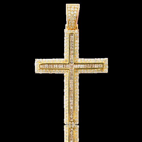 10K Yellow Gold 2.45ct Baguette Diamond Cross