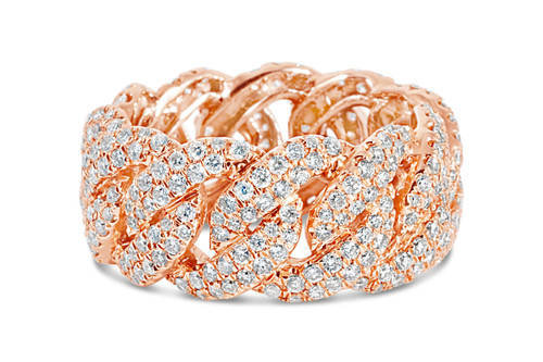 Men's 14K Rose Gold 3.50ct Cuban Diamond Ring
