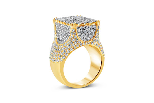 Men's 14K Yellow Gold 9.50ct Diamond Statement Ring