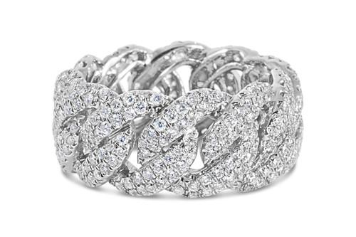 Men's 14K White Gold 3.50ct Cuban Diamond Ring