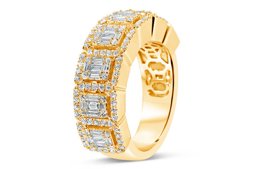 Men's 14K Yellow Gold 1.70ct Baguette Diamond Band