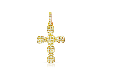10K Y/G Crucifix Cross Pendant 1.50ct with Chain