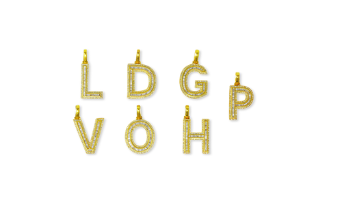10K Yellow Gold Diamond Baguette Letter Pendants with Chain