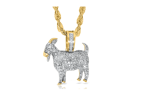10K Yellow Gold GOAT Pendant 0.40ct With Chain