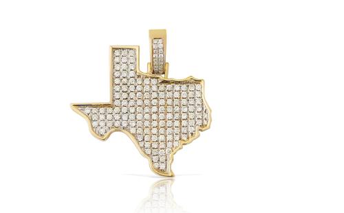 10K Yellow Gold Texas Diamond Map Pendant 1.50Ct