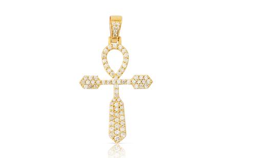 10K Yellow Gold Diamond Ankh Pendant 0.95Ctw