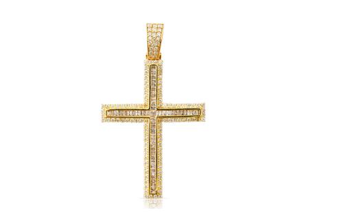 10K Yellow Gold Baguette Cross Pendant 2.25Ctw