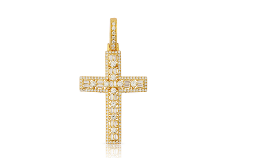 10K Yellow Gold Round Baguette Cross Pendant 1.15Ctw