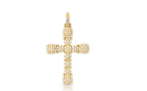 10K Yellow Gold Cross Pendant 0.80Ctw
