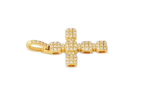 10K Yellow Gold Cross Pendant 0.65Ctw