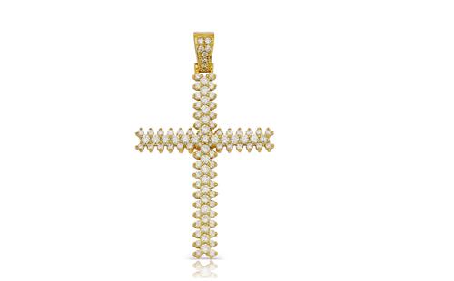 10K Yellow Gold Diamond Cross Pendant 3.05Ctw