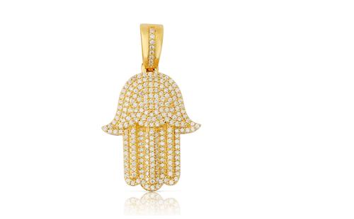 10K Yellow Gold Hamsa Diamond Pendant 1.65Ctw Comes With Chain