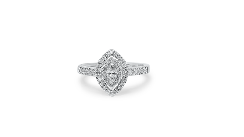 14K White Gold Ladies Marquise Ring with 0.53ct Diamonds