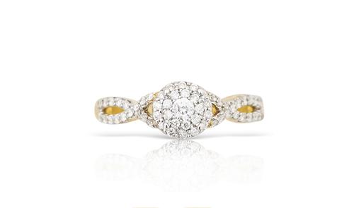 14K Yellow Gold Round Ladies Diamond Ring 0.38Ctw