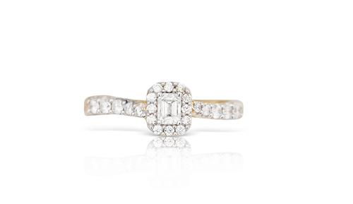 14K Yellow Gold Ladies Single Row Diamond Ring 0.50Ctw