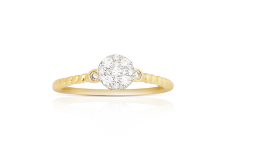 14K Yellow Gold Round Ladies Diamond Ring 0.25Ctw
