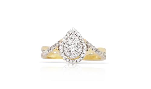 14K Yellow Gold Ladies Pear Shape Diamond Ring 0.50Ctw