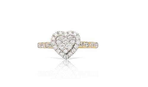 14K Yellow Gold Ladies Heart Ring 0.50Ctw