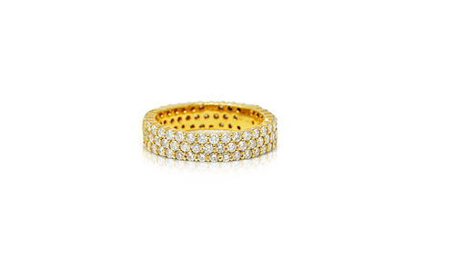 10K Yellow Gold Men's Diamond Eternity Band 3.30ct