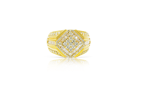 10K Yellow Gold Men's Diamond Ring 1.50ct