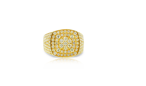 10K Yellow Gold Men's Diamond Ring 3.40ct
