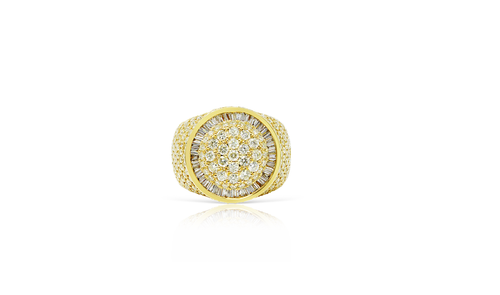 10K Yellow Gold Men's Round Baguette Ring 4.50ct