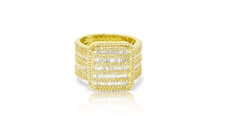 10K Yellow Gold Men's Dark Baguette Ring 1.74ct