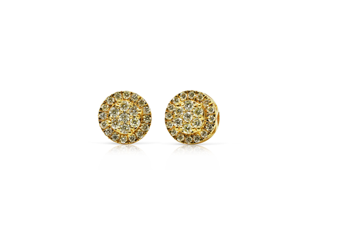 10K Yellow Gold 0.73 CT Diamonds Round Earrings
