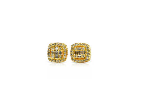 10K Yellow Gold 0.50 CT Diamond Square Baguette Earrings