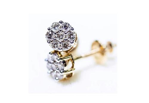10K Yellow Gold Diamond Flower Earrings 0.10Ctw