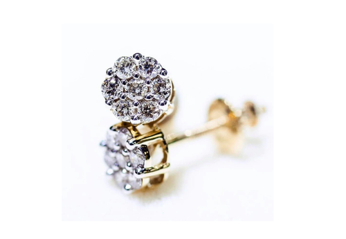 10K Yellow Gold Diamond Flower Earrings 1.50Ctw