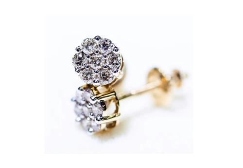 10K Gold 1.00 CT Flower Diamond Earrings