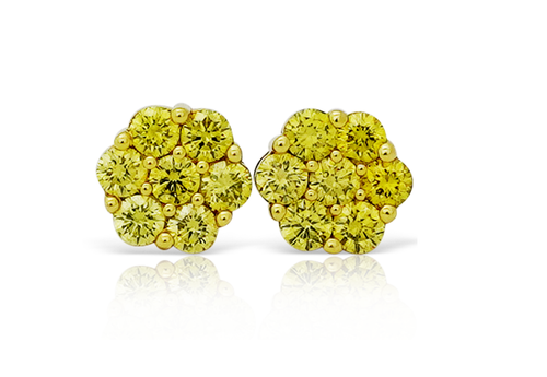10K Yellow Gold Flower Canary Diamonds 0.75Ctw