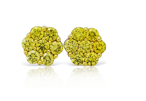10K Yellow Gold Flower Canary Diamonds 0.50Ct