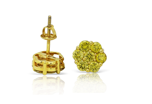 10K Yellow Gold Flower Canary Diamonds 0.10Ct