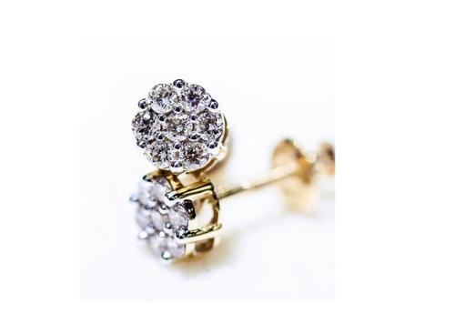 10K Gold 0.25CT Diamond Flower Earrings