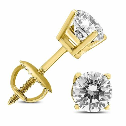 Solid 14k Yellow/White Gold Round Cut Diamond Solitaire Studs Earrings 1.00 ct