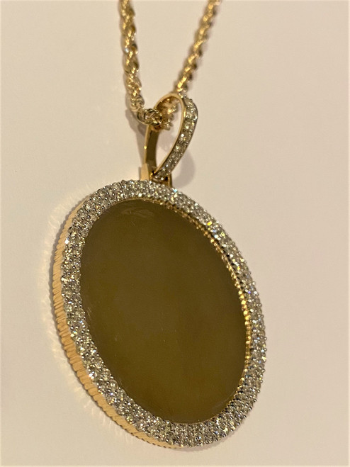 Yellow Gold Picture Pendant to  Set Photo Pendant 3.15 CT with Free Chain & Picture