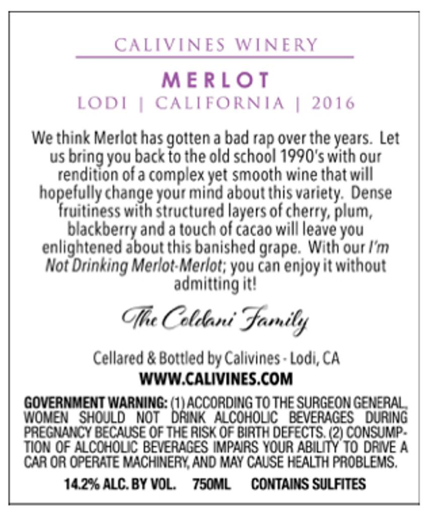 Calivines Merlot - 2016