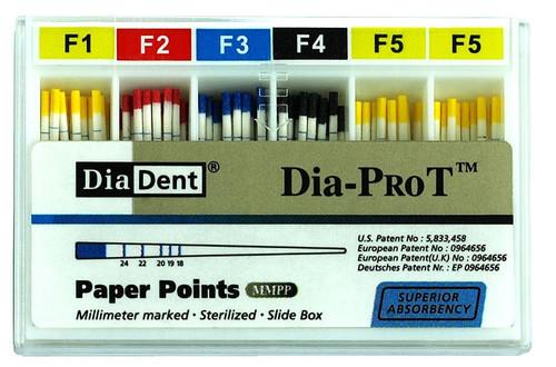 Dia-Pro T Paper Points Cc mm 30mm Asst F1/F2/F3 100/Pkg