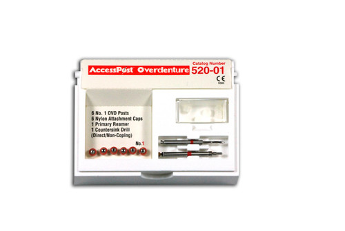Accesspost Overdenture Direct Non Caping Red/Size 1 6-Posts